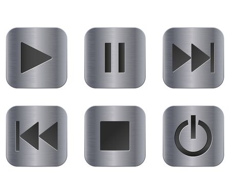 Metal media buttons. Vector 3d illustration isolated on white background