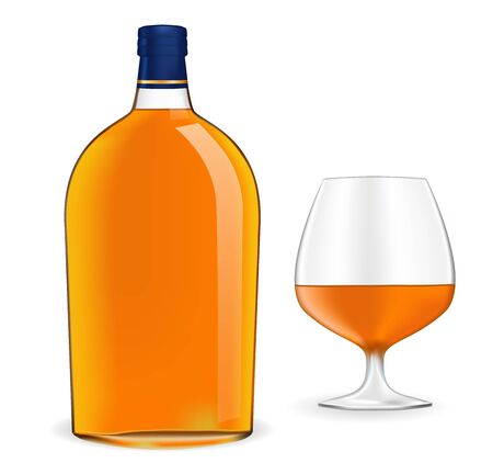 Bottle of brandy and snifter. Vector illustration isolated on white background Ilustracja