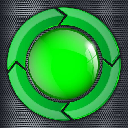 Green glass 3d button on metal perforated background