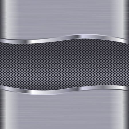 3d metal perforated background with scratched texture. Vector illustration Çizim