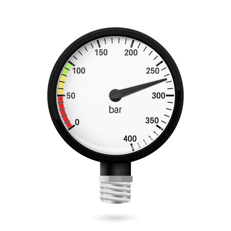 Manometer zum Tauchen. Sammlung. Vektor-3D-Darstellung auf weißem Hintergrund Vektorgrafik