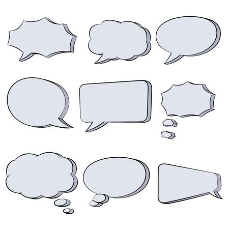 Speech bubbles. Hand drawn sketch. Vector illustration isolated on white background