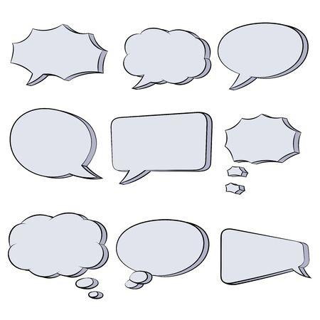 Tekstballonnen. Hand getrokken schets. Vectorillustratie geïsoleerd op een witte achtergrond