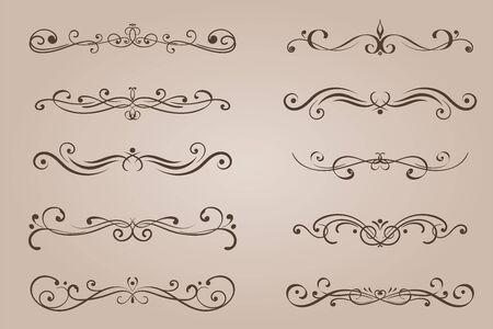 Decorative ornaments. Vintage ink elements on beige background. Vector illustration Illusztráció