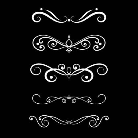 Floral decorative ornament on black background. Vector illustration Illusztráció