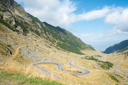 Transfagarasan road with beautiful mountains landscape. Summer sunny weather in Romanian Carpathians Stock Photo