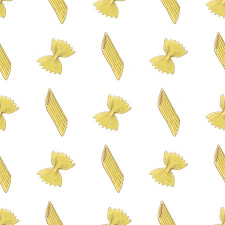 Pasta seamless vertical pattern. Colored hand drawn sketch