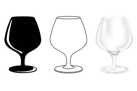 Brandy glass. Snifter. Set of icons. Vector illustration on white background Ilustrace