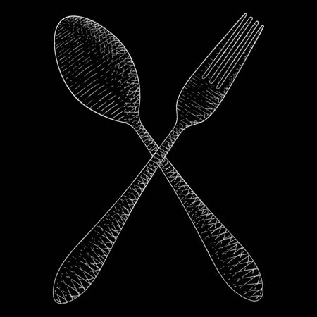 Cutlery. Spoon and fork. Hand drawn sketch. White on black background. Vector illustration.