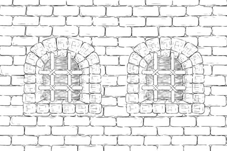 Old brick wall with barred windows. Hand drawing, vintage sketch Illustration
