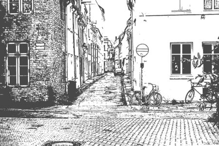European city. Old town narrow street with stop sign. Vintage hand drawn sketch. Vector illustration