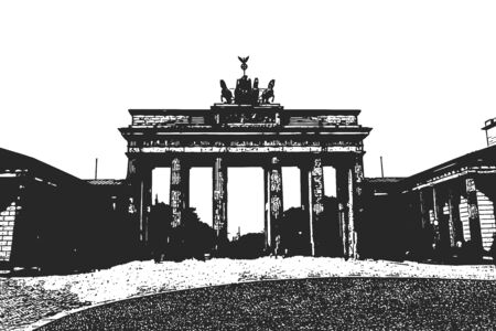 Brandenburg Gates. Berlin. Vintage hand drawn sketch. Vector illustration Vector Illustration