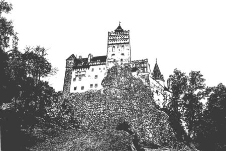 Bran castle in Romania. View up the hill. Vintage hand drawn sketch. Vector illustration