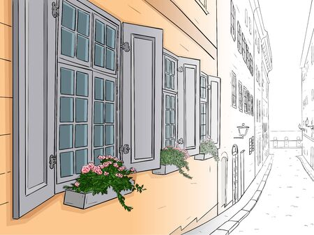 Narrow city street with flowers in window boxes. Hand drawn sketch. From black and white outline to colored image Vektoros illusztráció