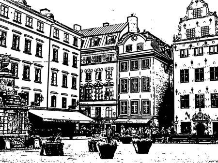 Stortorget, Stockholm old square. Hand drawn sketch