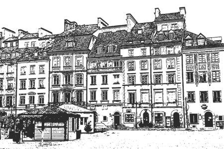 European old town. Vintage hand drawn sketch. Vector illustration