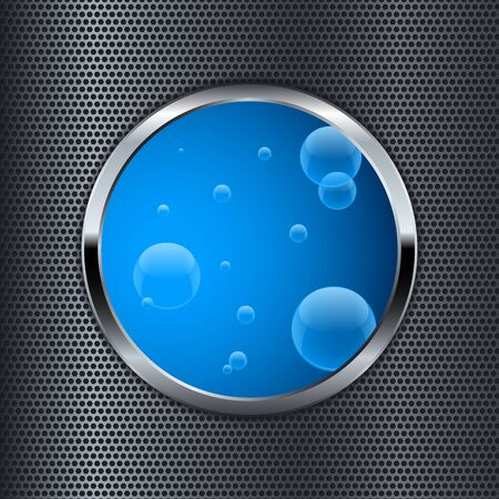 Blue button on metal perforated background