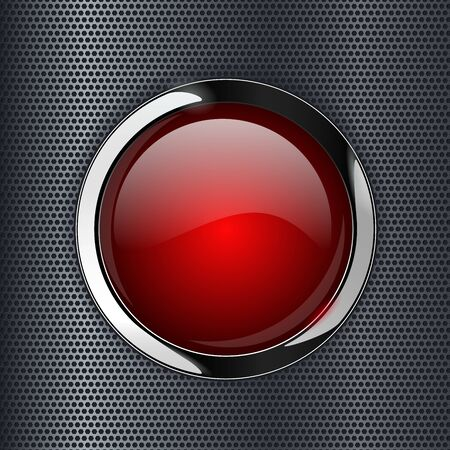 Red glass button on metal perforated background