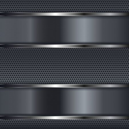 Metal perforated background with shiny plates. Vector 3d illustration