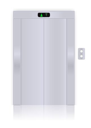 Elevator with closed doors. Vector 3d illustration