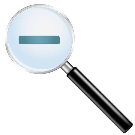 Simbolo di zoom indietro. Illustrazione vettoriale 3d isolato su sfondo bianco