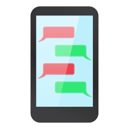 Maqueta de smartphone con messenger en pantalla. Cuadro de diálogo rojo y verde en blanco. Ilustración vectorial Logos