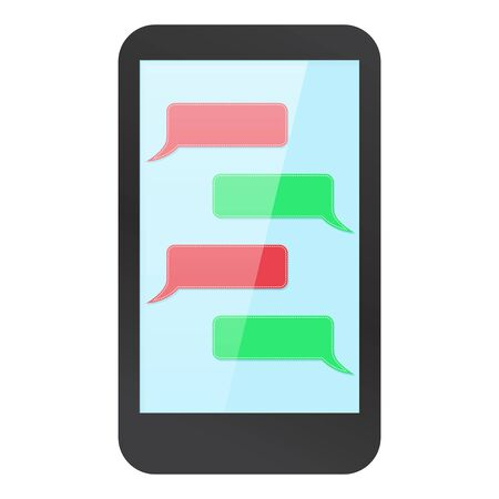 Smartphone mock up with messenger on display. Blank red and green dialog. Vector illustration Vector Illustratie
