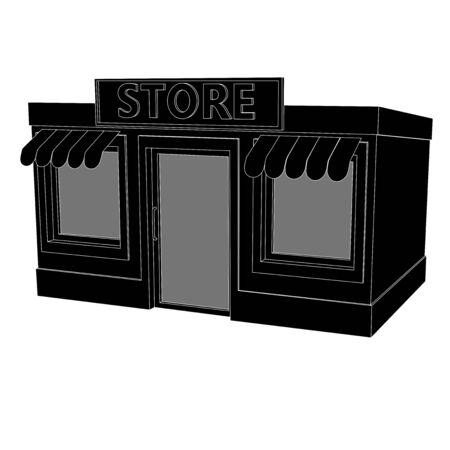 Store building. Black drawing. Vector illustration isolated on white background