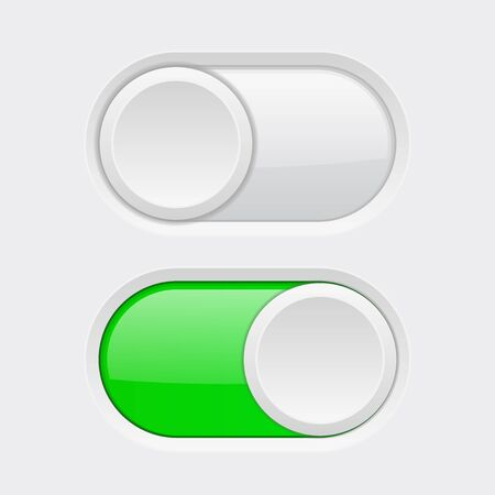 Toggle switch buttons. Vector 3d illustration.