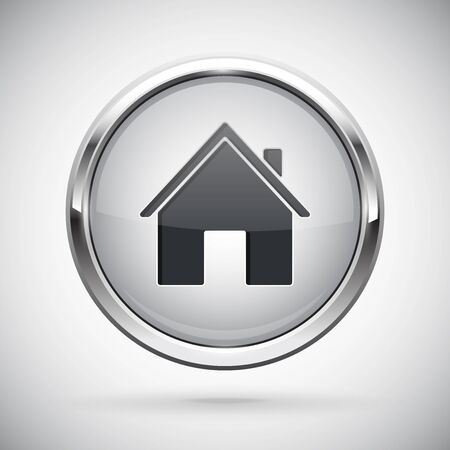 Closed icon. Shiny 3d button with metal frame and locked home symbol