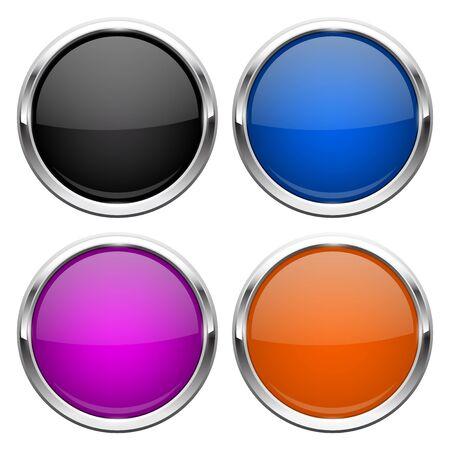 Push buttons. Glass round colored icons with chrome frame Illusztráció