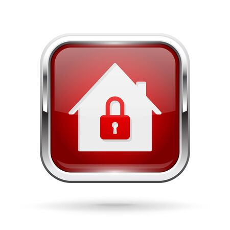 Closed icon. Red shiny 3d button with metal frame and locked home symbol Illusztráció