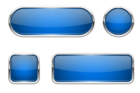 Web buttons. Blue shiny icons with chrome frame. Vector 3d illustration isolated on white background