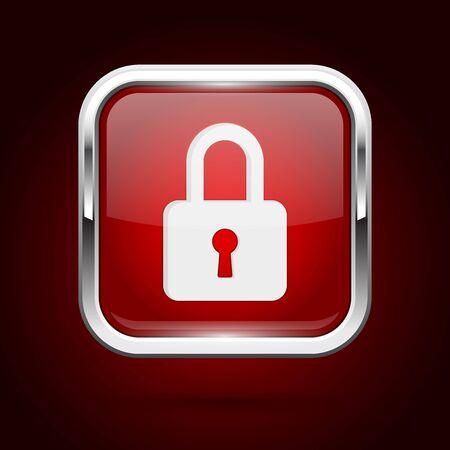 Red lock button with chrome frame. Push 3d button. Vector illustration Illusztráció