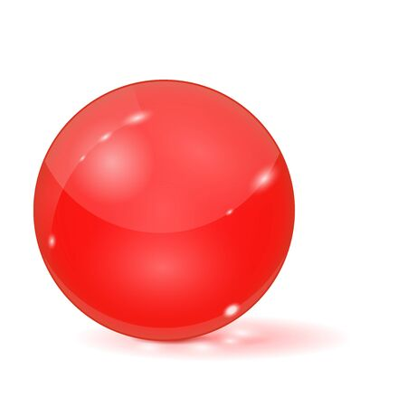 Red glass ball. 3d sphere. Vector illustration isolated on white background