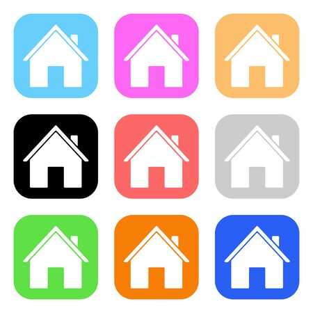 Colored house icons. Vector illustration isolated on white background