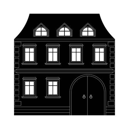 Private cottage. Black icon. Vector illustration isolated on white background Illusztráció