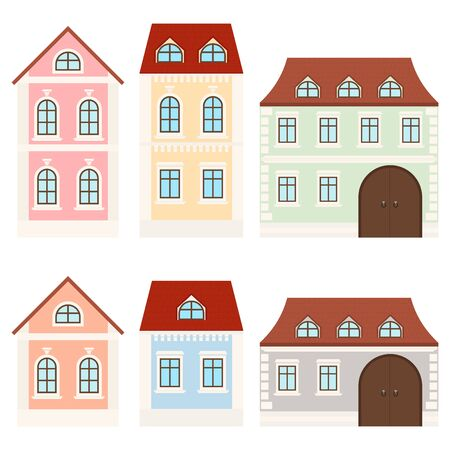 Colored houses. Private mansions. Vector illustration isolated on white background