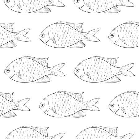 Fish. Black outline sketch seamless background. Vector illustration