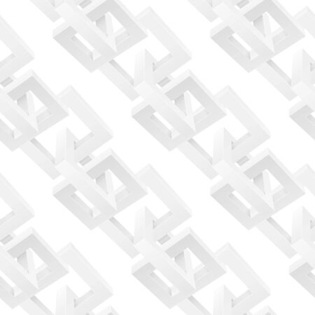 White chain elements as seamless pattern. Vector 3d illustration isolated on white background