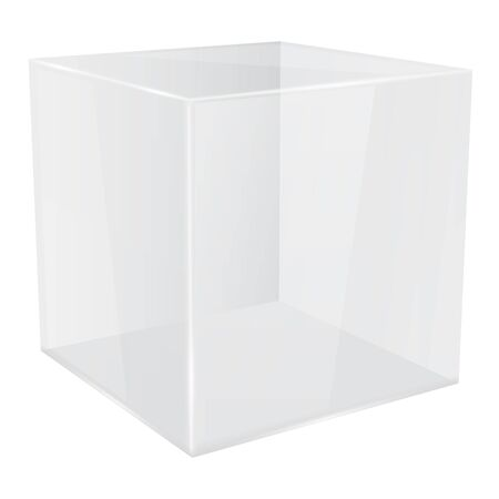 White glass cube. 3d transparent geometric shape. Vector illustration isolated on white background