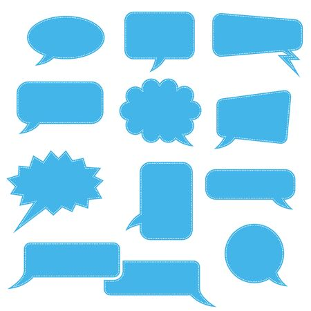 Speech bubbles. Blue blank signs. Vector illustration isolated on white background