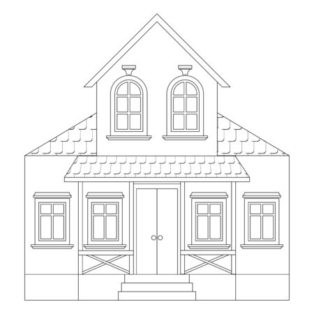 House. Two-storey residential building with porch. Outline drawing. Vector illustration isolated on white background