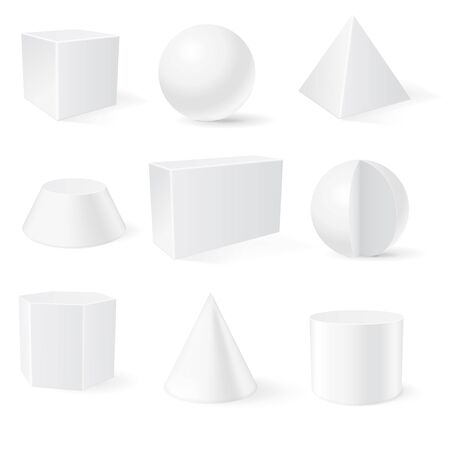 3d geometric shapes. Vector illustration isolated on white background