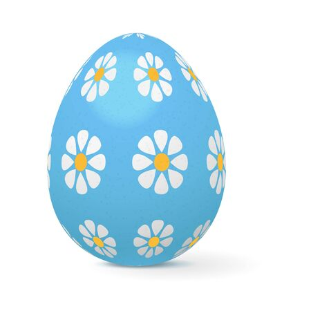 Easter egg decorated with flowers. Vector 3d illustration isolated on white background