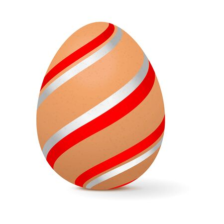 Easter egg decorated with white and red stripes. Vector 3d illustration isolated on white background