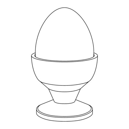 Boiled egg in egg stand. Outline drawing. Vector illustration isolated on white background