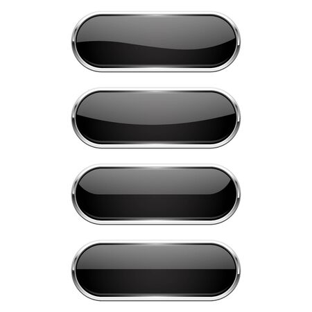 Web buttons. Black shiny oval icons with chrome frame. Vector 3d illustration isolated on white background