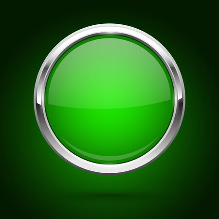 Green glass button with metal frame. Round icon on dark background. Vector 3d illustration