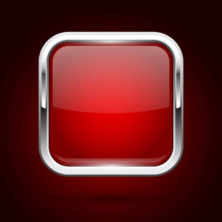 Red glass button with metal frame. Square icon on dark background. Vector 3d illustration Illusztráció